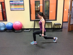 Here Lauren's back is too arched putting her glutes at a disadvantage and increasing quad and hip flexor activation.